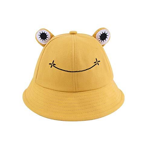 Bucket Hat Chapeau Mignon Lettre Seau Chapeaux Femmes Couverture Chapeau De Pêcheur Chapeau pour Femmes Adultes Crème Solaire Été Chapeau en Plein Air Présent 56-58 Cm Jaune