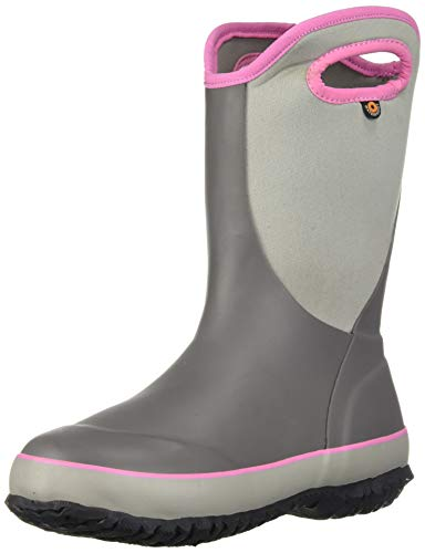BOGS Kid's Slushie Waterproof Rubber Boys and Girls Snow Boot, Solid Gray, 12 M US Little Kid