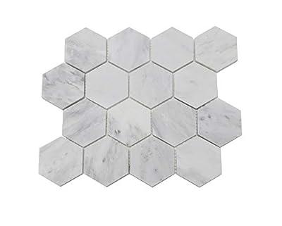 "FixtureDisplays 12 x 12"" Carrara White Marble Tiles 15975!"