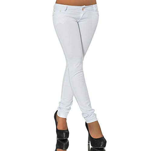 Diva-Jeans G701 Damen Jeans Look Hose Röhre Leggings Leggins Treggings Skinny Jeggings, Weiß, 38