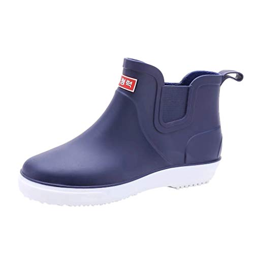 Xinantime Men's Outdoor Waterproof Shoes Nonslip Short Ankle Rain Boots Garden Shoes Lightweight Boots Blue