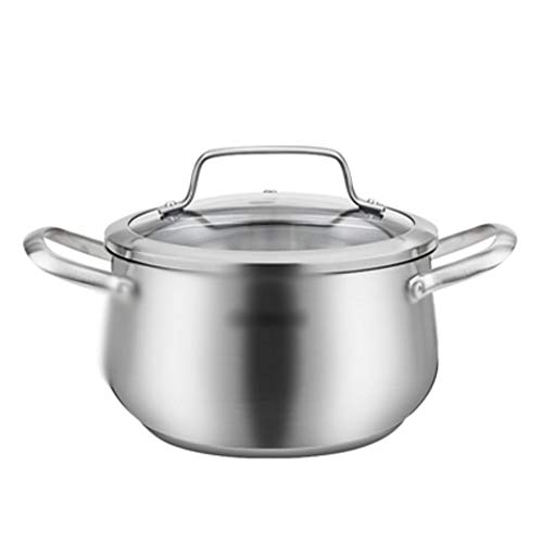 YTTZZ Stainless Steel Stockpot with Glass Lid Triple Layer Bottom Casserole Cooking Pot