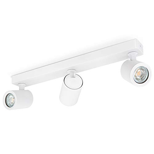 linovum TENJO Deckenleuchte 3 Strahler weiß inklusive LED GU10 Lampen warmweiß 6W - Spotstrahler Decke schwenkbar drehbar 230V