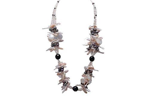 JYX Pearl Halskette dreireihig Süßwasserperlen, 69,8 cm, Weiß, mit Muscheln-Achat-Perlen