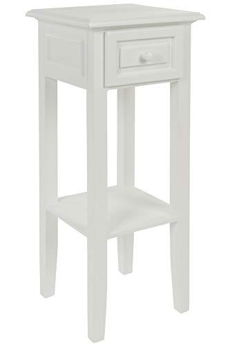 elbmöbel Telefontisch Weiss aus Holz Landhausstil Antik mit Schublade schmal (Weiß, H67 x B25 x T25cm)