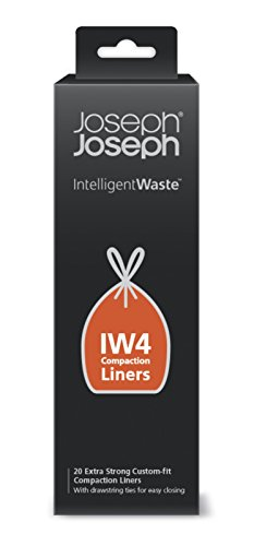 Joseph Joseph Intelligent Waste IW4 Compaction Bin Liners for Titan 8 gallon / 30 liter, Pack of 20, Black