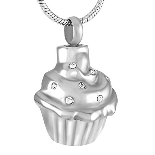 TIANZXS Collar de urna de cremación de Pastel de Cristal para Mujeres/niños Soporte de Cenizas de Acero Inoxidable Recuerdo Colgante de cremación joyeríaChapado en Plata