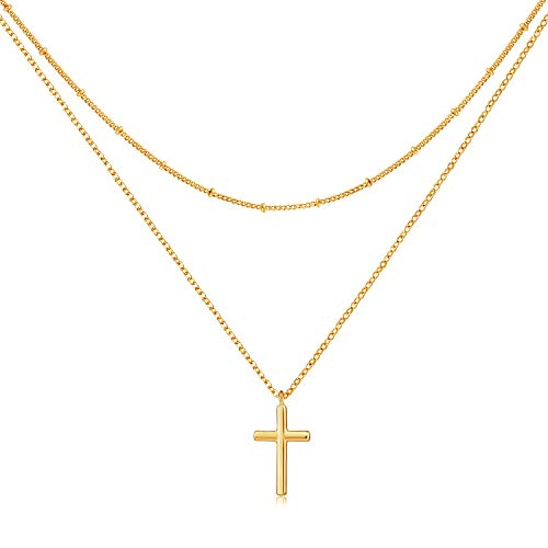 GUEMER Dainty Gold Layered Cross Neckalce 18K Gold Plated Simple Layering Cross Pendant Necklace Classic Celtic Delicate Vintage Simple Tiny Cute Faith Charm Cross Urn Layer Necklace Women Gift BFF