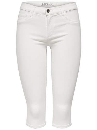 Only Onlrain Reg SK Knickers Pnt Cry9090 Bermuda, Bianco (White), 44 (Taglia Produttore: Medium) Donna