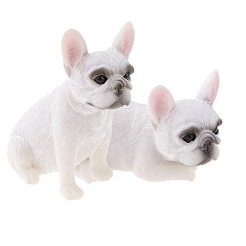 MagiDeal 2 Pcs French Bulldog Figurine Model for Garden Home Decoration White