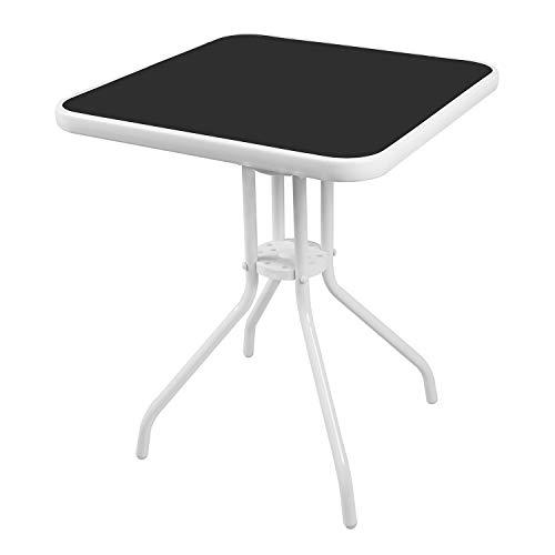 Mojawo® Bistrotisch Glas/Metall 60x60x70cm Weiß eckig Balkontisch Gartentisch Glastisch