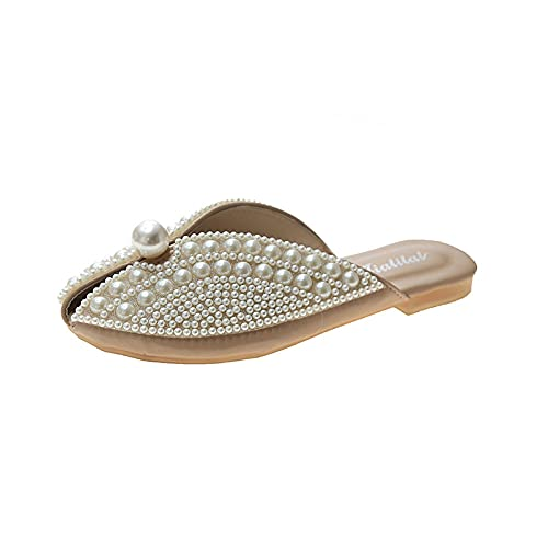 ypyrhh Planas Caminar Ortopedicas Zapatos,Baotou Fashion Semi-Drag,Planos Lazy Slippers-Caqui_39,Baño Sandalia Suela De Suave