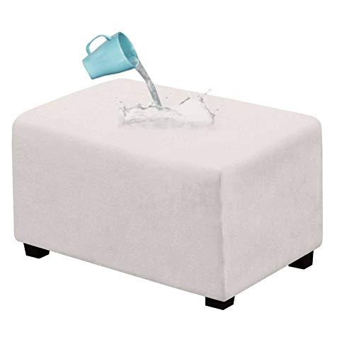 HALOUK Funda Otomana de Ante Rectangular,Fundas Protectoras Extraíble para Reposapiés Lavable a Máquina Elástica Protector de Muebles para Sala de Estar-Blanco-X-Large