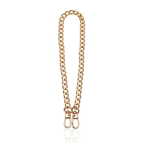 Correa de cadena plana, accesorio de metal para bolso de mano, cadena de repuesto de manga, color dorado