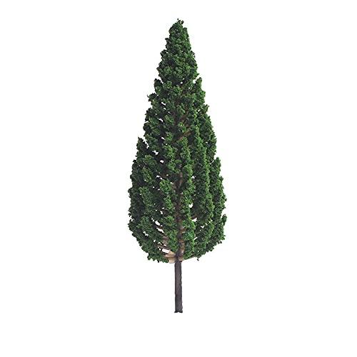 LOVONLIVE - Set di 10 mini alberi verdi per paesaggi architettonici paesaggistici alberi architettonici per paesaggi fai da te, verde naturale, 15 cm
