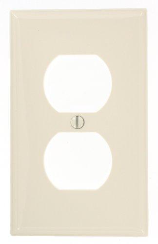 Leviton 80703-NT 1-Gang Duplex Device Receptacle Wallplate, Standard Size, Light Almond