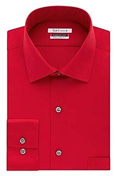 Van Heusen Men s Dress Shirt Flex Regular Fit Solid Crimson 17  Neck 34 -35  Sleeve  X-Large