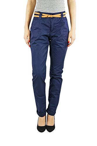VERO MODA vmboline Damen Chino | Business Casual Cargo-Shorts Sommer-Hose | Blau Schwarz mit Gürtel aus Baumwolle, Farbe:Schwarz, Hosengröße:M, Schrittlänge:L34