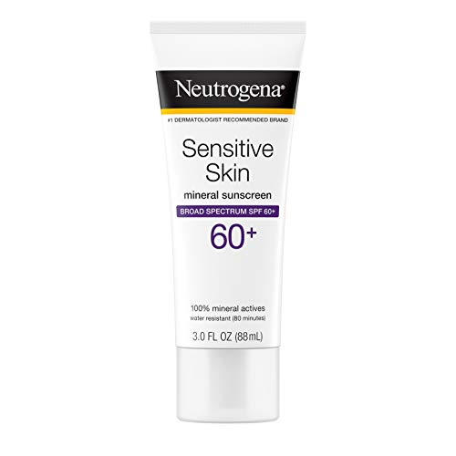 Neutrogena Sensitive Skin Mineral Sunscreen Lotion with Broad Spectrum SPF 60+ & Zinc Oxide, Water-Resistant, Hypoallergenic, Fragrance- & Oil-Free Gentle Sunscreen Formula, 3 fl. oz