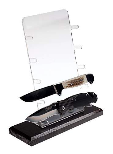 Universele messenstandaard voor 5 messen, display acryl/eiken massief hout, verkrijgbaar in twee