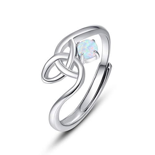 Celtic Knot Opal Ring,925 Sterling Silver White Opal Adjustable Open Ring for Women Forever Love Celtic Knot Thumb Ring Gift for Women Teen Girls