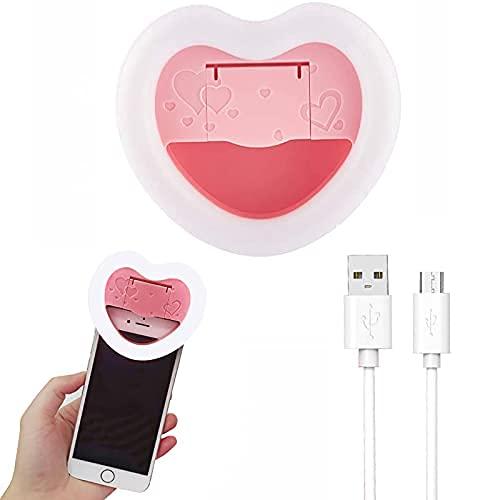 Selfie luz anillo de luz con espejo de maquillaje, recargable en forma de corazón led luz de llenado, computadora de teléfono móvil Selfie Live