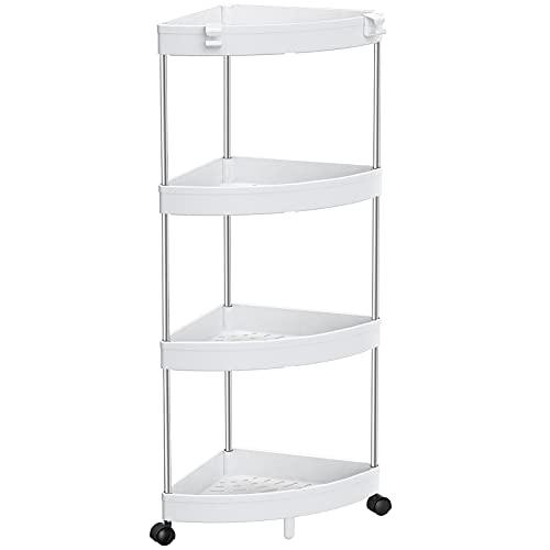 SOLEJAZZ Carrito de ducha de esquina, estantes de esquina de 4 niveles, organizador de carrito de baño, estante de exhibición de esquina, estante multiusos para baño, espacios pequeños, blanco