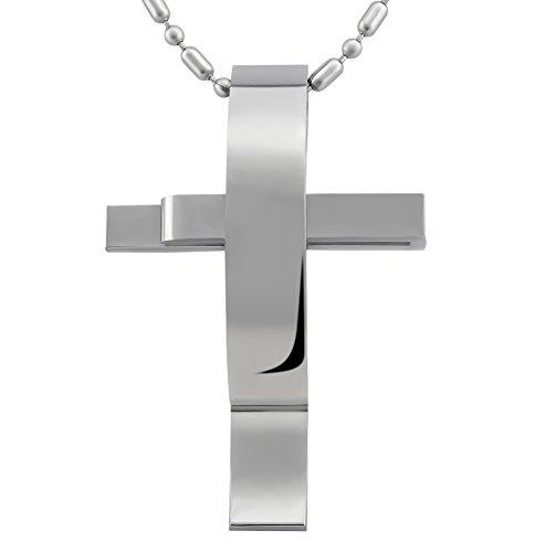 Colgante para hombre Hanessa joya de plata, diseño de cruz curva, cadena de acero inoxidable, regalo para novio/marido