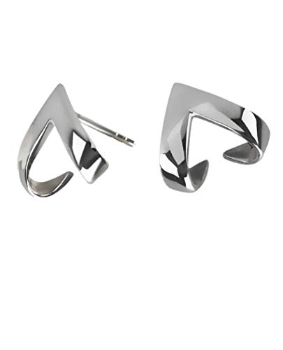 Silver Roots Sterling Silver Minimalistic Ascending Delta Armor Jacket Earrings