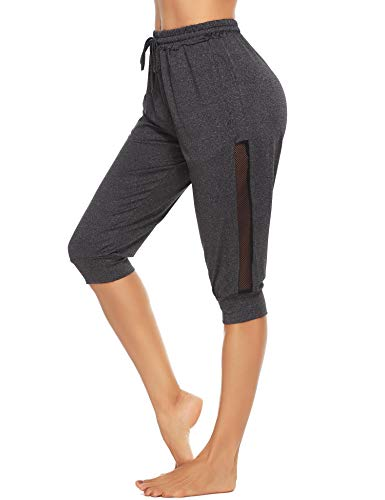 Doaraha Pantaloni Sportivi da Donna, Pantaloni Pinocchietto Fitness, Pantaloncini 3/5 Capri Leggings, Pantaloni Elastico di Casual da Jogging e Yoga