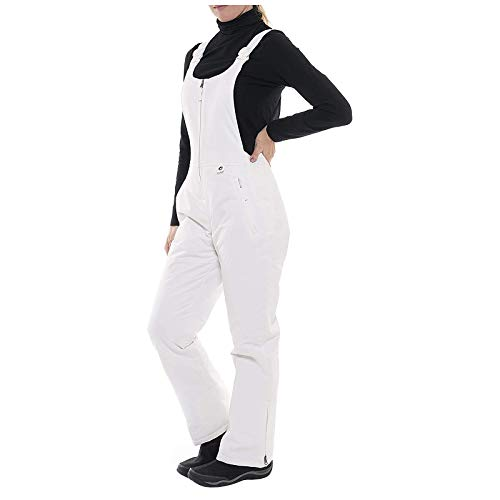 Aniywn Womens Insulated Water Resistant Ski Snow Bib Pants, Waterproof Insulated Snowboard Overalls White