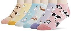 372ec1e2dfbc2 K. Bell Women's 6 Pack Novelty No Show Socks, Farm Animals Pink Shoe Size:  4-10