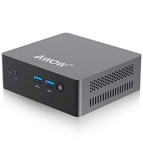 Mini PC Windows 10 AWOW Mini Desktop Computer Intel Celeron N3450 8GB DDR4 128GB SSD 4K@30Hz HDMI x2 Dual Band WiFi USB x4 Gigabit Ethernet BT 42 AL34 Micro PC