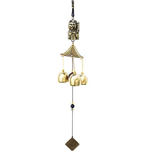 Tradizionale propizio Feng Shui decorazione decorativa Fortuna Gatto Wind Chime Rustproof Metal Hanging Decors con Campane per la casa camera da letto Soggiorno