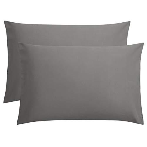 FLXXIE 2 Pack Microfiber Pillowcases, Envelope Closure, Ultra Soft and Premium Quality, 20' x 30' (Dark Grey, Queen)