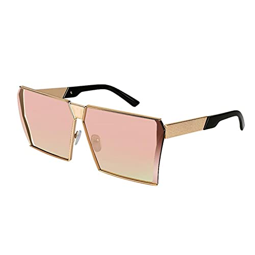 SLAKF Gafas duraderas Gafas de Sol cuadradas Mujeres de Lujo de Lujo 8 Colores Lente Degradado Marco de aleación Eyewear Hembra Espejo de Sombra UV400 Gafas de Sol (Lenses Color : Gold Pink)