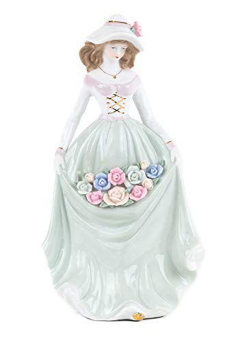MABAMAHO Porzellanfigur Frau MIT Blumen in limitierter Auflage, 30 cm, Handarbeit