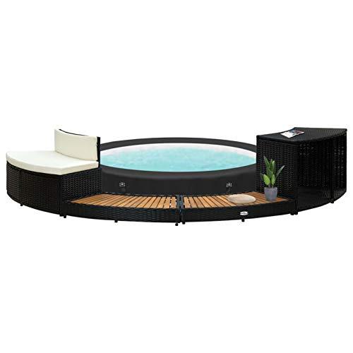 Tidyard Whirlpool Umrandung Poolumrandung Poolverkleidung für Whirlpool Spa Schwimmbecken Schwarz Poly Rattan und Akazienholz