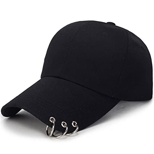 MONGE 1 unids sombrero de béisbol ajustable con anillo deportes al aire libre gorra de sol para mujeres hombres moda Snapback sombreros, negro, Talla única