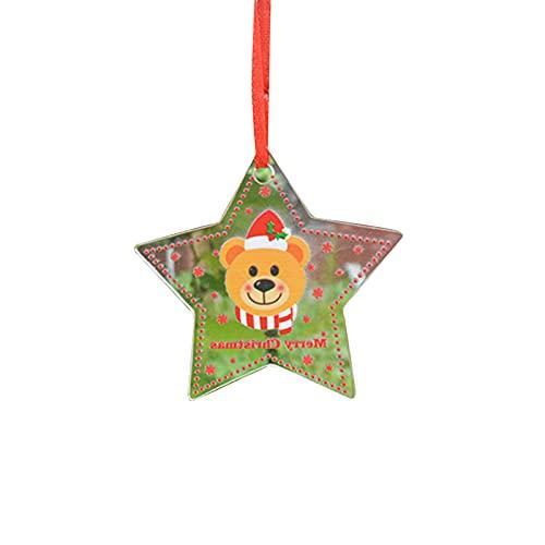 Laoonl, ornamento da appendere all'albero di Natale, grazioso ciondolo a forma di stella, in acrilico dipinto a tema natalizio, decorazione per la casa, la camera da letto, il giardino.