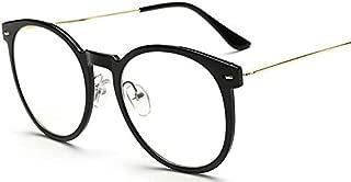 KLBS Unisex Vintage Big Round Frame Eyewear Metal Casual Flat Glass