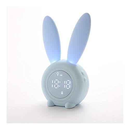 Reloj de Alarma Personalizado Alarma Inteligente Activado por la Voz del Reloj Multifuncional Alumnos Lindo Conejo de Alarma Reloj de cabecera electrónico Luminoso Relojes de Mesa (Color : Blue)