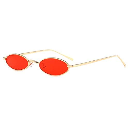OULII Occhiali da sole vintage ovali con montatura in metallo sottile e lenti chiare per uomini e donne (lenti rosse)