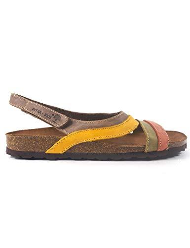 Sandalias para Mujer de Piel Cuero Fabricadas en España Interbios 7225 Teja-Kaki-Mostaza - Color - Multi, Talla - 40