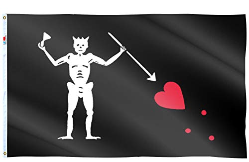 rhungift Pirate Edward Teach Flag Large 3x5 Ft, Moderate-Outdoor Both Sides 100D Polyester,Canvas Header and Double Stitched - Brass Grommets for Easy Display Bloody Flags Blackbeard Halloween Flag