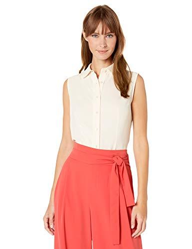 Anne Klein Women's Sleeveless Button Front Blouse, Anne White, 14