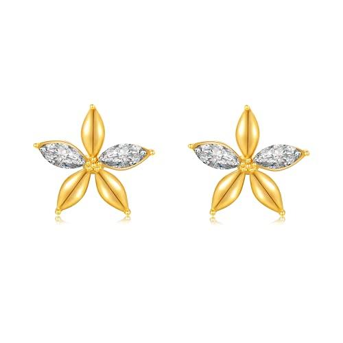 Immobird Pendientes de mujer de plata de ley 925 con diseño de flor con circonita cúbica, pendientes de oro