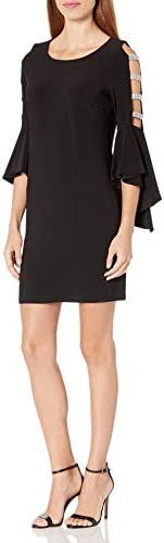 MSK Women s Bell Sleeve Dress with Ladder Trim Black Large product image