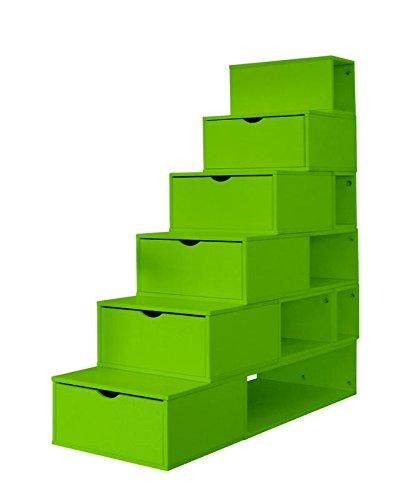 Escalera Cubo de almacenaje tablero DM, altura: 150 cm, color verde: Amazon.es: Hogar