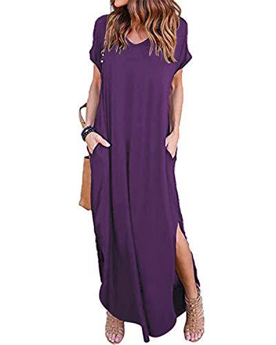 VONDA Maxikleider Damen Lange Sommerkleid Kurzarm Elegant Strandkleid Damenkleider Mit Taschen A-Lila L